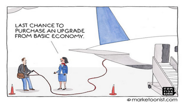 Marketoonist on upselling and customer experience